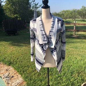 Sweaters - Medium, Patterned, Blue/Gray/White, Open Cardigan